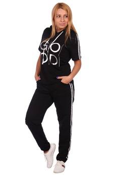 Черный спортивный костюм с капюшоном ElenaTex